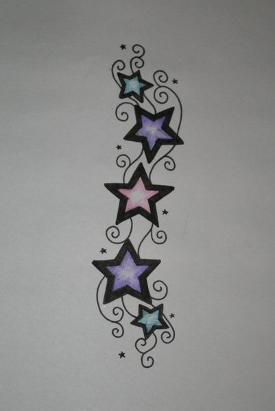 Extension tattoo design for a single star