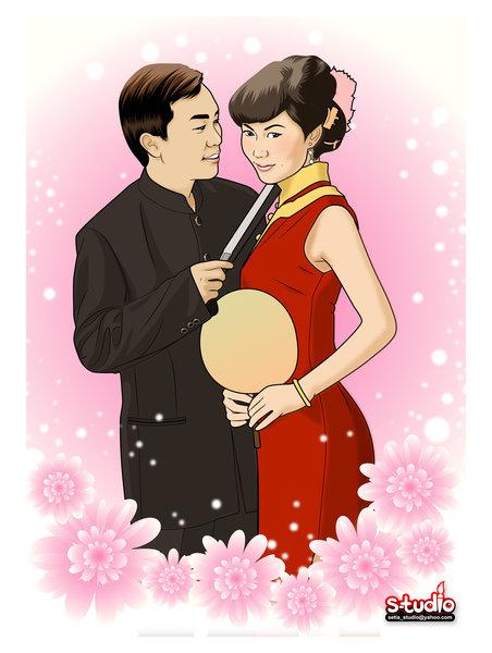 Chinese wedding Cartoon style by