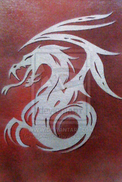 Tribal Dragon Stencil by