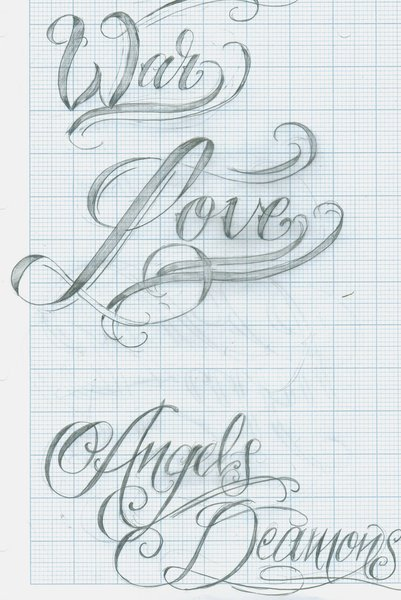 Tattoo Script Lettering 12 by 12KathyLees12