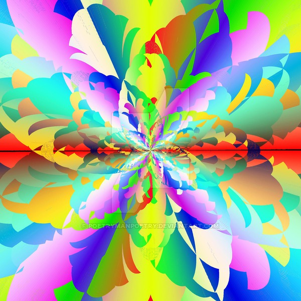 Fractal Fire Flower Flameout Redux by poetrymanpoetry (print image)