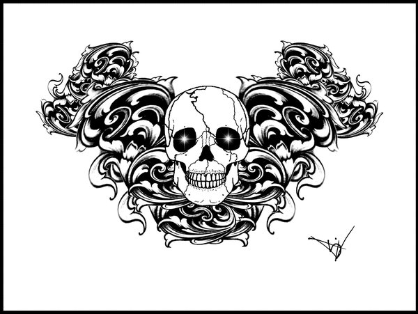 Gothic Skull Filigree tattoo by ~Quicksilverfury